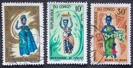 CONGO Y&T 207 - 208 - 210 (o) MARCHANDE DE FRUITS. MAMA YA BANA . ELEGANTE NOUMBA - Congo - Brazzaville
