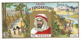 Etiquette SAVON Des EXPLORATEURS De BRAZZA - Société Continentale Du Cosmydor, Paris - Labels