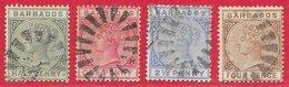 Barbade N°39 à 41 & N°44 4p ( Filigrane CA, Dentelé 14) 1882-86 O - Barbados (...-1966)