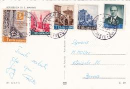 Affranchissement Sur Carte  Postale De St.Marin - 7.7.1961 - Lettres & Documents