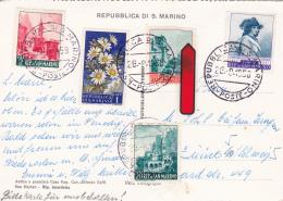 Affranchissement Sur Carte  Postale De St.Marin - 26.8.1958 - Lettres & Documents