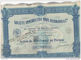 Action De 300 Francs Au Porteur Société Immobilière Paul Bernard & Compagnie Paris 1929 - Actions & Titres
