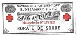 Etiquette  SAVON ANTISEPTIQUE -  Savonnerie E. DELAMARE, Paris Rouen - Borate De Soude - Labels