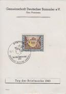 DR Anlasskarte Gau Pommern Tag Der Briefmarke 1943 Minr.828 SST Stettin 10.1.43 - Briefe U. Dokumente