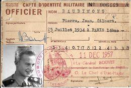 DOCUMENT  ADMINISTRATIF CARTE IDENTITE MILITAIRE  OFFICIER  1957 ARMEE DE TERRE - Historical Documents