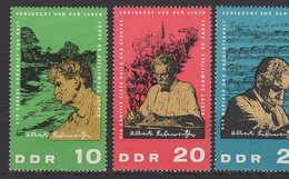 DDR / 90. Geburtstag Von Dr. Albert Schweitzer / MiNr. 1084-1086