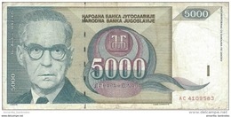 YOUGOSLAVIE 5000 DINARA 1992 P-115 CIRCULÉ [YU115circ] - Yugoslavia