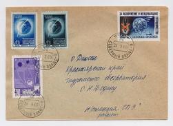 MAIL Post Cover Used USSR RUSSIA Set Stamp Space Rocket Sputnik Icebreaker Bomb  Moon