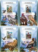 DJIBOUTI 2016 - Birds Of Prey, Owls. OFFICIAL Deluxe Sheets - Uilen