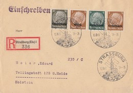 R-Brief MIF Minr.Elsass 1, Lothringen 1,4, Luxemburg 11 Strassburg 15.8.41 - Besetzungen 1938-45