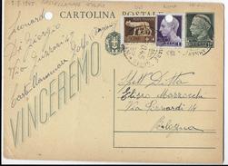 STORIA POSTALE LUOGOTENENZA - INTERO POSTALE VINCEREMO 07.08.1945 DA CASTELLAMARE DEL GOLFO - Storia Postale