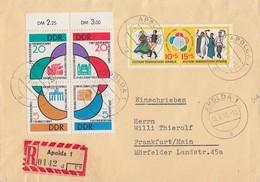 DDR R-Brief Mif Minr.901-904 4er Block, 905-906 Zdr.Apolda 19.7.62 Gel Nach Frankfurt/M.