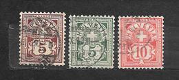 SVIZZERA  Suisse Helvetia     N. 65-66-67/US  -1882 Lot Lotto
