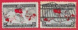 Canada N°73 2c Lilas Pâle, Rouge & Noir & N°73a 2c Bleu-vert, Rouge & Noir 1898 (oblitération Drapeau) O - 1851-1902 Règne De Victoria