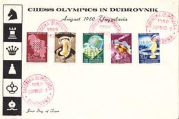 CHESS OLYMPIC DUBROVNIK -FDC YUGOSLAVIA MICHEL 616-620