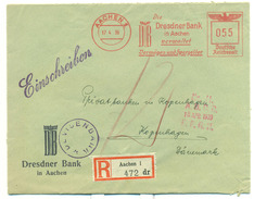 AACHEN. Recomended Letter Send To Denmark 17.4.39. Nice Cover - Germania