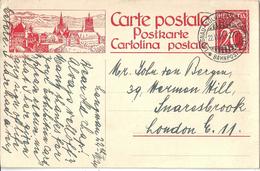 """PK 104  """"Lausanne""""  (Bahnstempel  Langnau - Solothurn - Langnau)           1924 - Entiers Postaux"""