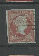 Spain 1855 4c Brownish Red. Blueish Paper Fine Used - Oblitérés