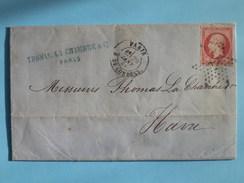 EMPIRE DENTELE 24 EN PAIRE SUR LETTRE DE PARIS AU HAVRE DU 29 JANVIER 1868 (ETOILE 18) - 1849-1876: Période Classique