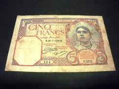 ALGERIE 5 Francs 16/07/1929 , Pick N° 77 A, ALGERIA - Algerien