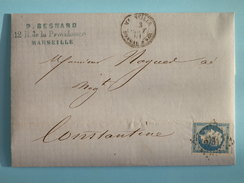 EMPIRE NON DENTELE 14 SUR LETTRE DE MARSEILLE A CONSTANTINE (ALGERIE) DU 13 AOUT 1861 (PETIT CHIFFRE 3734) - Postmark Collection (Covers)
