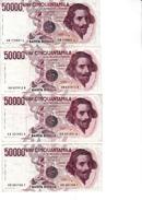 Lotto Di 4 Banconote Da 50.000_Cinquantamila Lire_Bernini_Dec.Min: 6 Febbraio 1984-Buona Conservazione_2 Scan- - Italia