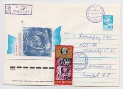 SPACE Stationery Cover Mail Used USSR RUSSIA Rocket Sputnik Leninsk-9 Cosmodrome Baikonur Gagarin Cosmonaut Soyuz TM-9