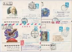 SPACE Stationery 4 Cover Mail Used USSR RUSSIA Rocket Sputnik Tsiolkovsky Ryazan Gagarin Kaluga Baikonur