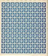"""Planche De 100 Timbres** Gommés De 1945-46  """"10 C. - FRANCE LIBRE - Timbres-Taxe"""" - Fogli Completi"""
