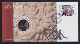 """2010 GRECIA """"BATTAGLIA DI MARATONA"""" 2 EURO COMMEMORATIVO FDC (BUSTA FILATELICO / NUMISMATICA) - Grecia"""