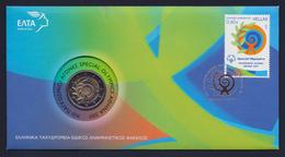 """2011 GRECIA """"XIII GIOCHI OLIMPICI SPECIALI / ATENE 2011"""" 2 EURO COMMEMORATIVO FDC (BUSTA FILATELICO / NUMISMATICA) - Grecia"""