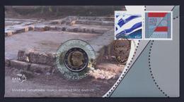 """2013 GRECIA """"100 ANN. UNIONE CRETA ALLA GRECIA"""" 2 EURO COMMEMORATIVO FDC (BUSTA FILATELICO / NUMISMATICA) - Grecia"""