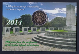 """2014 GRECIA """"150 ANN. UNIONE ISOLE IONIE ALLA GRECIA"""" 2 EURO COMMEMORATIVO FDC (FOLDER) - Grecia"""