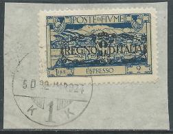 1924 FIUME USATO ESPRESSO REGNO D'ITALIA 2 LIRE - P41-9 - Occupation 1ère Guerre Mondiale