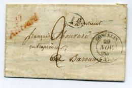 Cursive Rouge 37 ALLEVARD + T14 GONCELIN /  Dept De L'Isère / Ecrite De La Chapelle Du Bard / 1838 - Marcophilie (Lettres)