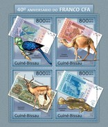 GUINE BISSAU 2012 SHEET ANNIVERSARY OF THE FRANC CFA WILDLIFE CAMELS BIRDS FISHES ANTELOPES CAMELLOS POISSONS Gb12808a - Guinée-Bissau