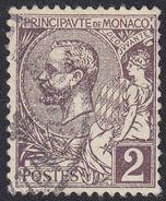 MONACO - 1891/1894 - Yvert 12 Usato; 2 Centesimi, Violetto/bruno. - Monaco