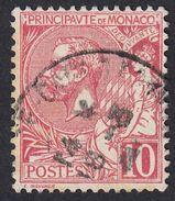 MONACO - 1901 - Yvert 23 Usato; 10 Centesimi, Rosso. - Monaco