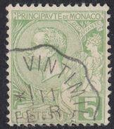 MONACO - 1901 - Yvert 22 Usato, 5 Centesimi, Verde - Monaco