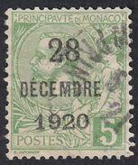 MONACO - 1921 - Yvert 48 Usato, 5 Centesimi, Verde/giallo. - Monaco