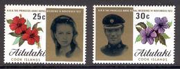 AITUTAKI Cook Islands 1973 Wedding Of Princess Anne & Capt. Mark Phillips, Hibiscus, Scott Nos. 77-78, MNH - Aitutaki