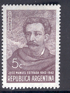 ARGENTINA 1942 Jose Manuel Estrada, Writer & Diplomat, Scott No. 481, MH - Argentina