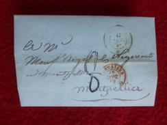 LAC DE GENES A MONTPELLIER TAXE 8 CACHET SARDAIGNE 1849 - Postmark Collection (Covers)