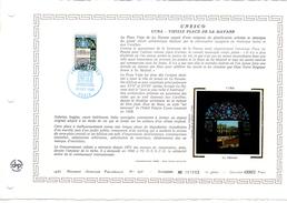 """FRANCE 1985 : Feuillet  DAP 1° Jour CERES En Soie RARE (4000 Ex) """" UNESCO 1985 : CUBA """" N° YT SERV 89. Parfait état"""