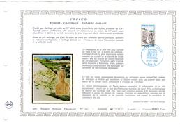 """FRANCE 1985 : Feuillet  DAP 1° Jour CERES En Soie RARE (4000 Ex) """" UNESCO 1985 : TUNISIE """" N° YT SERV 88. Parfait état"""