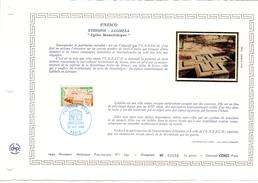 """FRANCE 1984 : Feuillet  DAP 1° Jour CERES En Soie RARE (4200 Ex) """" UNESCO 1984 : ETHIOPIE """" N° YT SERV 79. Parf. état"""