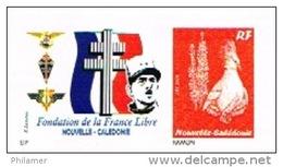 Nouvelle Caledonie Timbre Personnalise France Libre Prive Croix Lorraine General Charles De Gaulle 2013 Neuf Unc TB