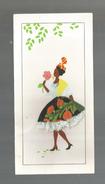 CARTE DE VOEUX , Brodée , Tissus , Hibiscus..! , Peinture à La Main , 9 X 17.5 , 4 Pages , Vierge - Brodées