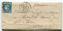 SEINE De PANTIN GC 2782 Sur N°60 Sur LAC Du 20/03/1872 - 1849-1876: Classic Period
