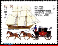 Ref. BR-2691 BRAZIL 1998 POST, MAIL MARITIME, 200 YEARS,, HORSES, SHIPS, TRANSPORT, MI# 2904, MNH 1V Sc# 2691